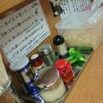 らー麺 家道 - 卓上調味料 ご推奨の揚げ玉とワサビ