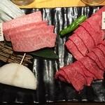 焼肉七つ星 - 150709黒毛和牛霜降り上カルビ1280円、黒毛和牛赤身680円、トウガラシ