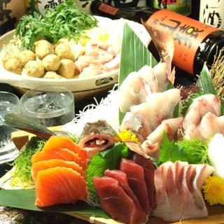 飲み放題付き宴会!!名物こぼれ寿司付4000円税込全6品