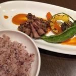 40301148 - メインお肉料理(仔羊肩肉と野菜のグリエ カレー風味のトマトソース)