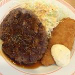 ジョイフル - 日替りランチ(ハンバーグ&白身魚フライ)