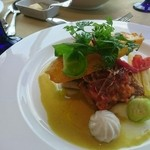 ラピュタ - スズキのスパイス焼コーンチップ添え  カレー風味のソース