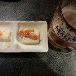 居酒屋 きらく - 玉子焼、キムチ奴、生ビール