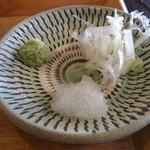 SOBA CAFEゆうひ - ・ざるそば 薬味 小鹿田焼っぽい皿