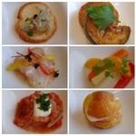 カフェテリア アルポルト - *「しらすのプルスケッタ」「鯛のマリネ」「野菜のマリネ」「クリームチーズ入りミニシュー」「カボナータ」もう一つは忘れましたm(__)m。