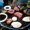 ビアガーデン バービーズ - 料理写真:お肉焼いてます。