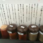 鴨錦 - 薬味と鴨つけ汁の説明