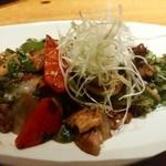 燦 - 豚バラ肉の黒酢風味炒めーこれも上品でいいお味ー