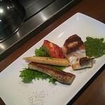 Teppanyakigurou - ナイフを入れてしまった…季節の魚とお野菜