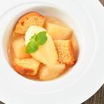 レストラン ビブ - ◆白桃のコンポートとジュレ パッションフルーツアイスのせ