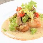 レストラン ビブ - ◆天然平目のポワレ スパイシーな長茄子のタルタルのせ