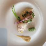 40426261 - イサキとナスのピューレの前菜。