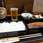 青柳 - 重箱二つに、それぞれご飯と、鰻が