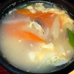 吾照里 - 玉子スープです。最後に汁物をオーダーしました。野菜が思ったより沢山入っていたので嬉しかったですね。味付けもいい感じで美味しくいただきましたよ。