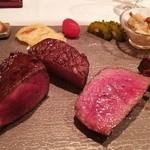 トロワフレーシュ - 料理写真:左から、岩手短角牛、熟成肉、らんぷ、フィレ