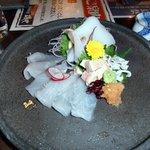海鮮茶屋 磯や - ウマヅラハギ アオリイカ 刺身 アップ