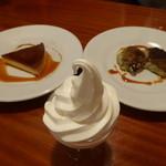 サリーナ - 塩アイスクリーム、アマレッティのプリン、ピスタチオのカタラーナ
