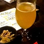 nangokubaruhaisai - お通しとシークワーサーヒビール