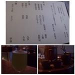 40516125 - ◆お茶メニュー                       お酒と迷いましたが、こちらでは「お茶」を頂くべきかと・・                       最初に「水出し茶」がだされます。お茶の旨みが凝縮されていますね。