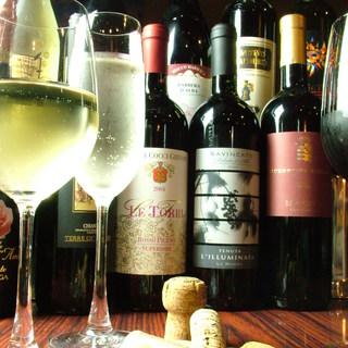 ◆ワインを気軽に楽しむ◆グラス480~、ボトル2500円~◆