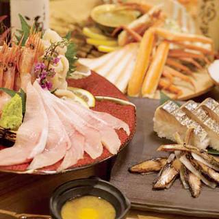 北陸直送の新鮮な魚介と珍味を気軽に楽しめます。
