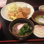 Tamoya - よくばり定食 580円(税込) 唐揚げ、しょうが焼き、冷そば