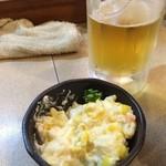 40544976 - ポテトサラダと生ビールです
