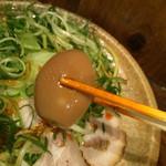 つけ麺本舗 辛部 - ゆで卵は薫製の様なお色です!