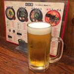 つけ麺本舗 辛部 - とりあえずの生ビール(*^◯^*)♪