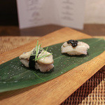 かわ村 - 2015.08再訪 握リゾットコース riso: 穴子 キャビア、岩牡蠣 キャビアライム 芽葱☆