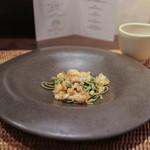 かわ村 - 2015.08再訪 握リゾットコース pasta: 茶そばのピッツォケリ、オマール海老の天かすそぼろとそのズッパ☆