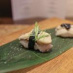 かわ村 - 2015.08再訪 握リゾットコース riso: 岩牡蠣 キャビアライム芽葱☆