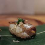 かわ村 - 2015.08再訪 握リゾットコース riso: 鰯 葱 生姜☆