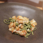かわ村 - 2015.08再訪 握リゾットコース pasta: 茶そばのピッツォケリ☆