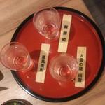 北海道はでっかい道 オホーツクの恵み 網走市 - 20150805 日本酒呑み比べ。内容はおまかせですが、かなりサービスして戴きました♪