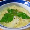 蒸鶏工房 白地商店 - 料理写真:鶏スープ (鉄板スープ。ふわふわ〜としたタマゴが素敵なルックス)