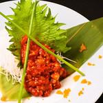 個室×肉×鉄板料理専門店 Enfin - 韓国オモニのタラチャンジャ。