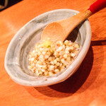森川 - 夜「お通し 蕎麦の実」