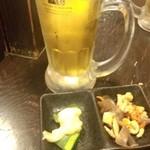 居酒屋ゴエモン - 生ビール+お通し