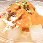 40681003 - バンバンジー冷やし麺 1730円 の地鶏、クラゲ、冬瓜の特製ピーナッツだれ