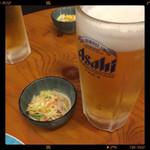 亀松 - 生ビール&お通し