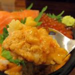 海鮮処 魚屋の台所 本店 - ウニの上にお醤油を垂らし、スプーンで下のご飯と叩くように混ぜ合わせます。                             健康には悪そうだけど(笑)、ホントに快楽的な味!