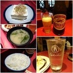 40699897 - 定食の冷ややっこ/味噌汁/御飯/キリンビール大¥590/酎ハイ¥320