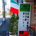 ジェラート・ベネ工房 - 道端の看板(男のパフェ?)