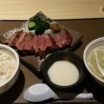 三代目文治 - 牛タン厚切り定食1,5人前2300円‼トロロ200円追加!
