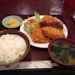 四季 - 【2015年7月】本日の定食(アジフライ、野菜揚げ)780円