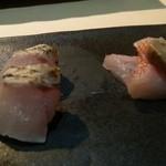 鮨四季の味 しおん - のど黒,きんきの造り肝もそえ