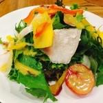 40723555 -  ヒラタパスタ名物! 10種の野菜とゆで鶏の彩りサラダ  ドレッシングが美味!