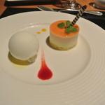 スカイレストランアンドラウンジ L&R - オレンジとチーズのムースケーキとミルクのアイスクリーム