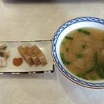 網元番屋 - イガイカレー 二点もり(えご、鰰寿し)&つみれ汁